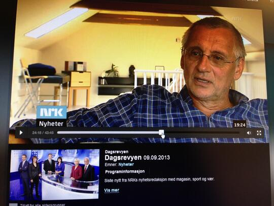 Bilde av tv med Alf Sandve