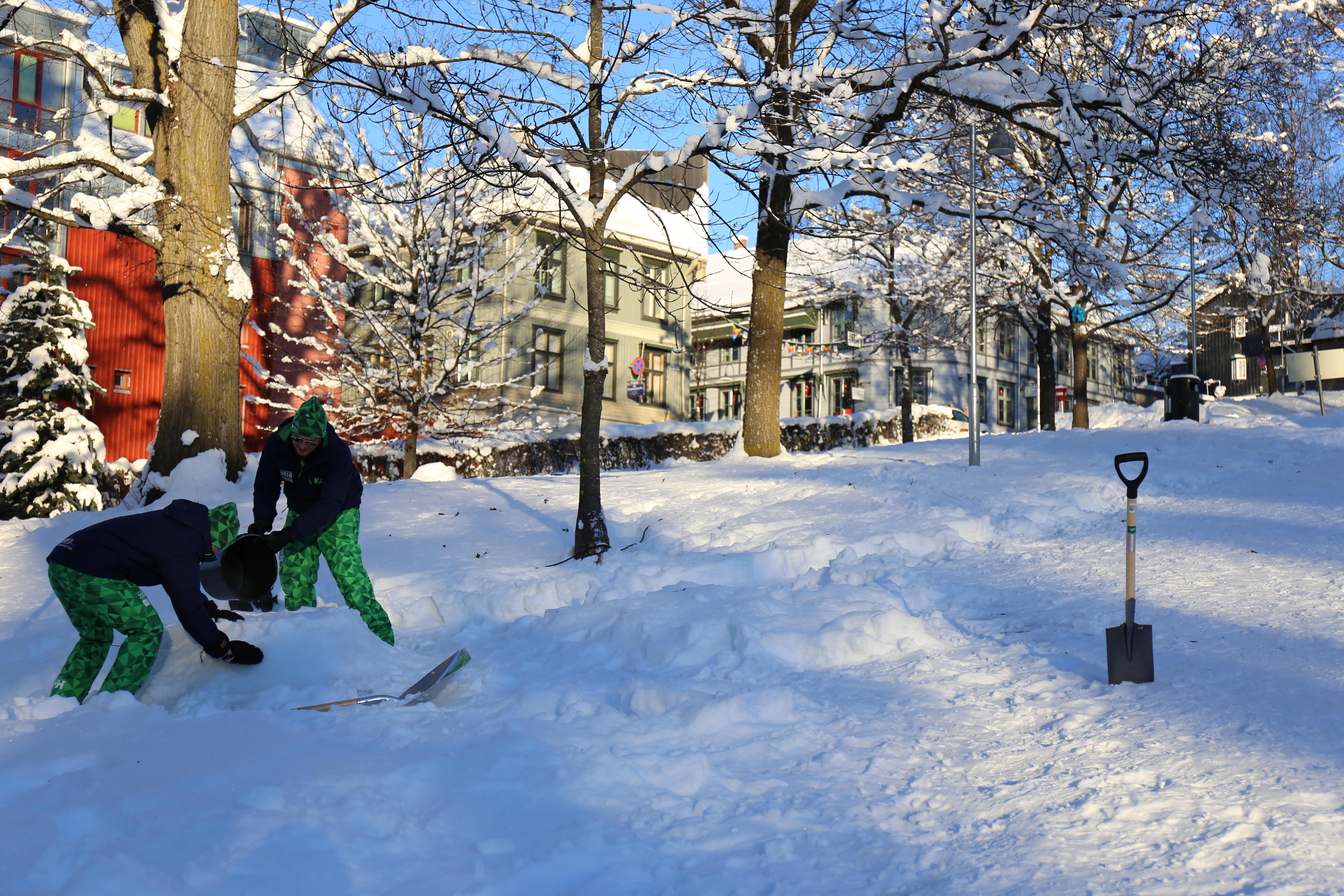 2 elever på jobb i snølandskap
