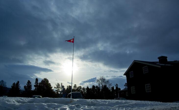 Flaggstang i snølandskap