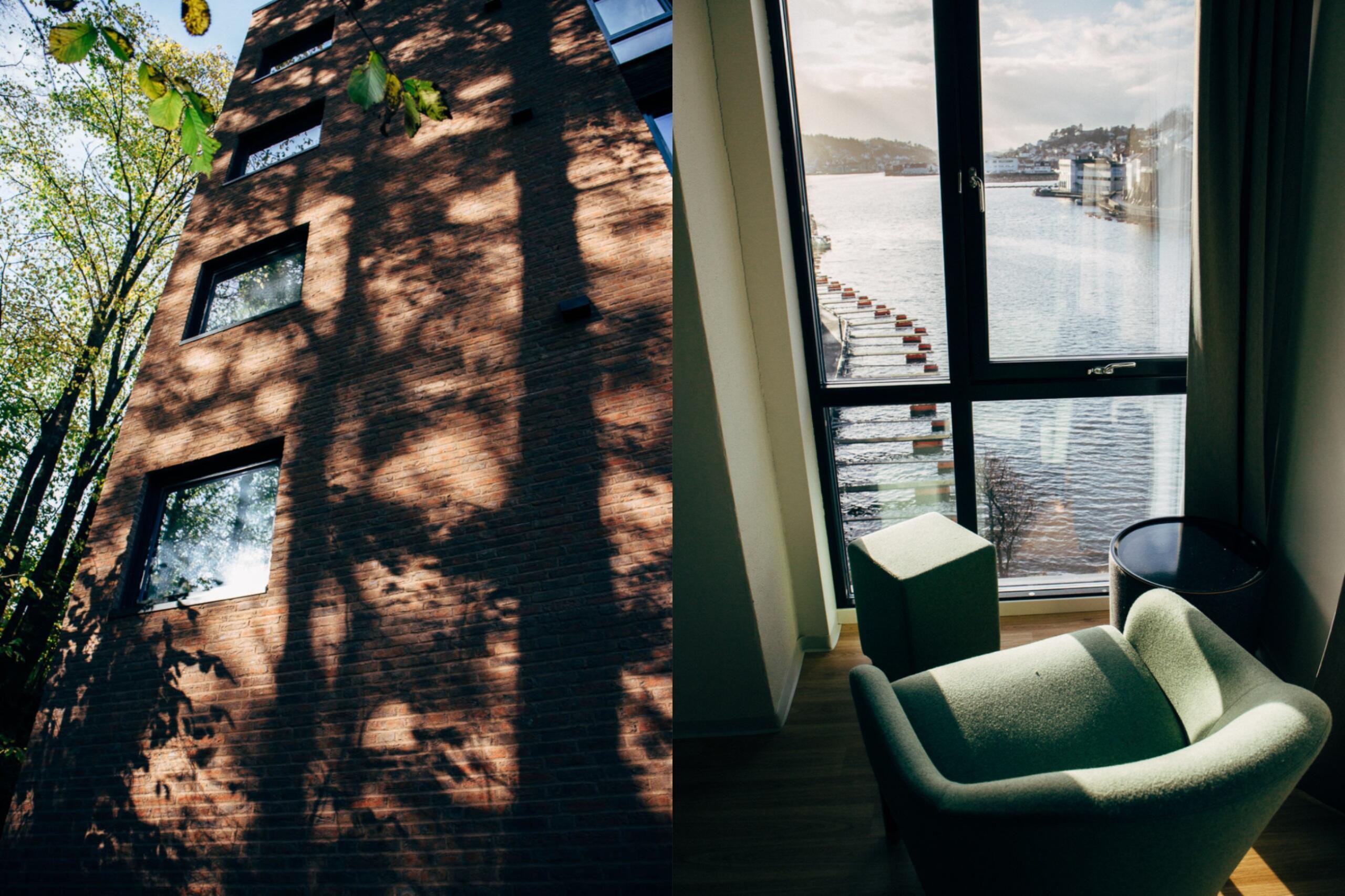 Til venstre: Vegg med skygge fra tre, Tyrilisenteret i Skien. Til høyre: Utsikt over Kittelsbukt, Tyrili Arena Arendal.