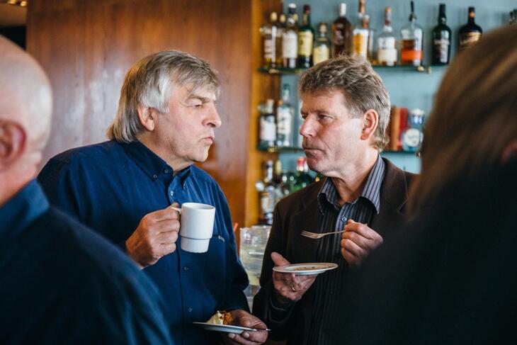 To av kveldens æresgjester, Svend Hafskjold (t.v.) og Øyvin Aamodt.