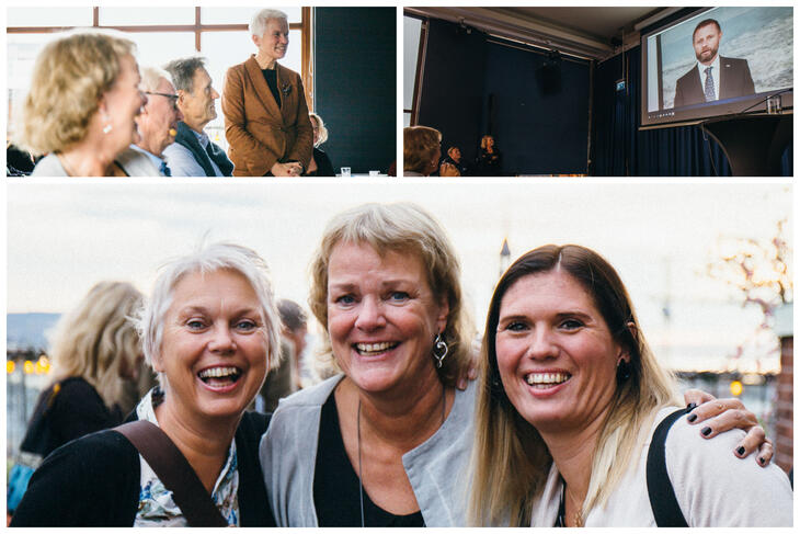 En av foredragsholderne, lege og rådgiver i Helse Sør-Øst, Guri Spilhaug (øverst t.v.), helseminister Bent Høie med videohilsen til æresgjestene (øverst t.h.) og Lise Lunaas, Turid Wangensteen og Ida Kristine Olsen.