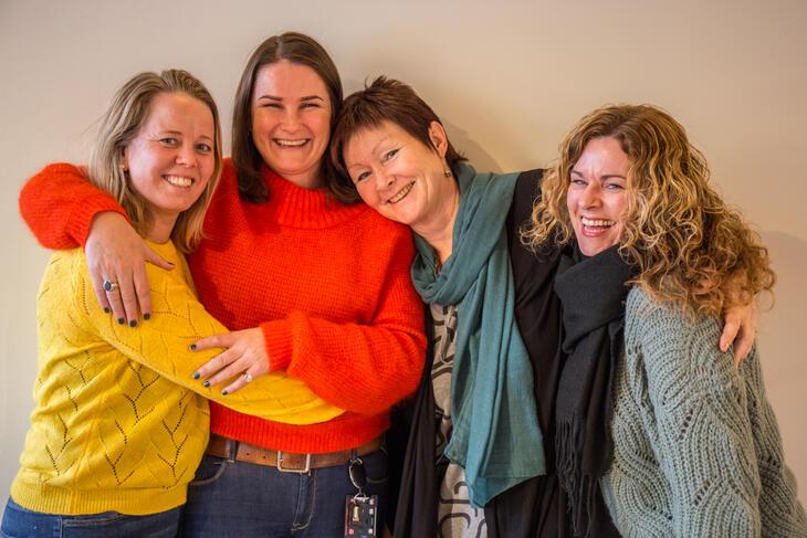 Tyrili IPS, her representert ved jobbspesialist Gyda Moan (Lillehammer, t.v.), teamleder Eva Tveit, og jobbspesialistene Hilde Saraksen (Oslo) og Hanne Sikane (Skien).