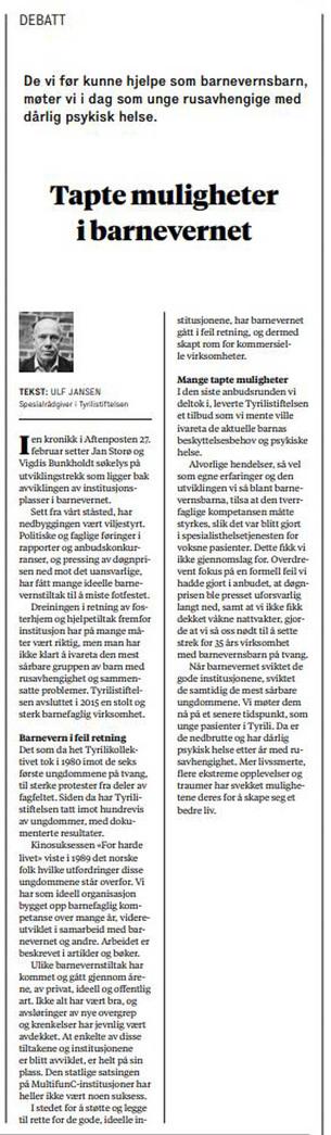 Faksimile fra Aftenposten 24/3-2018.