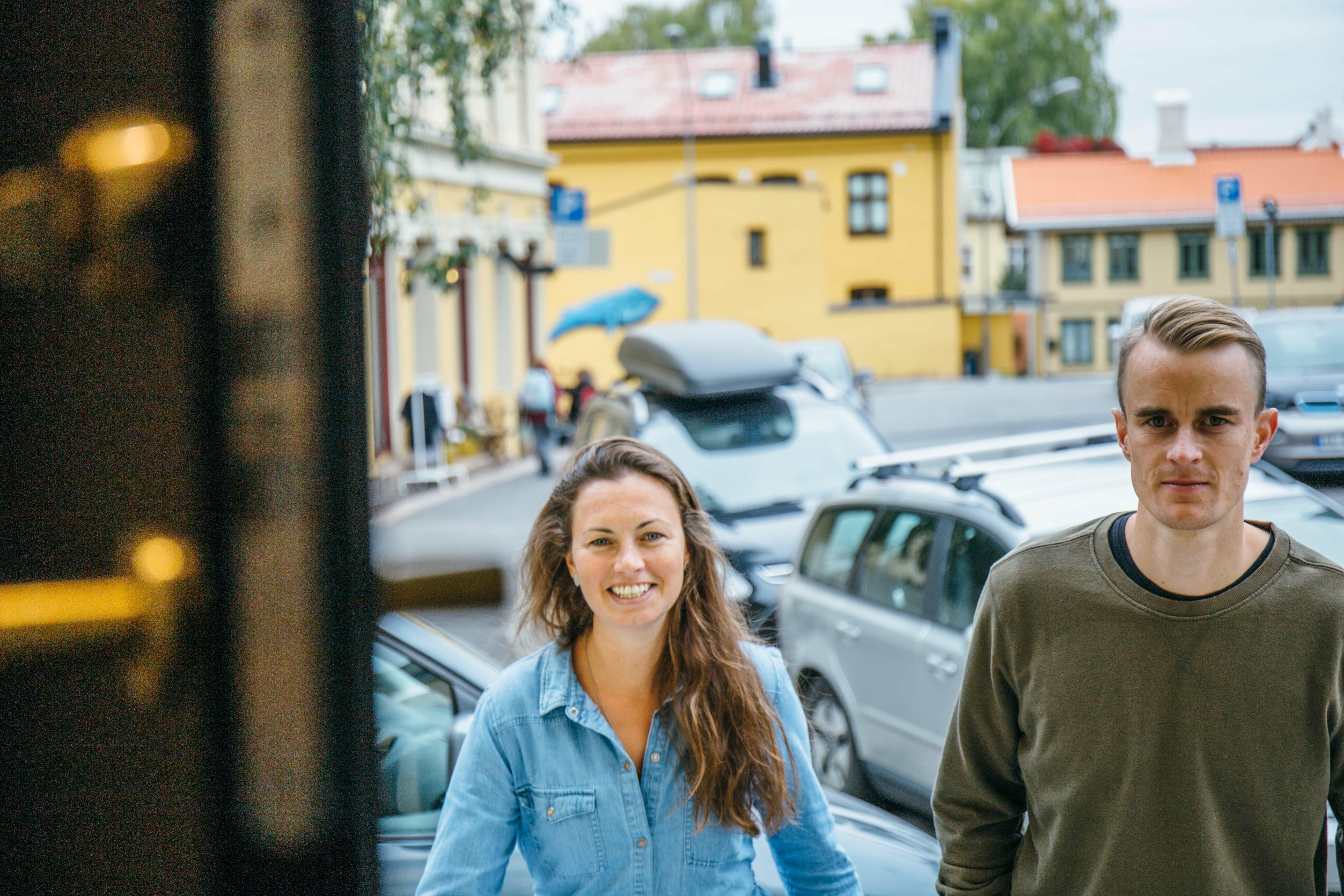 Tone Helene Bergly og Jacob Hystad, forskere i Tyrili, på Kampen i Oslo.