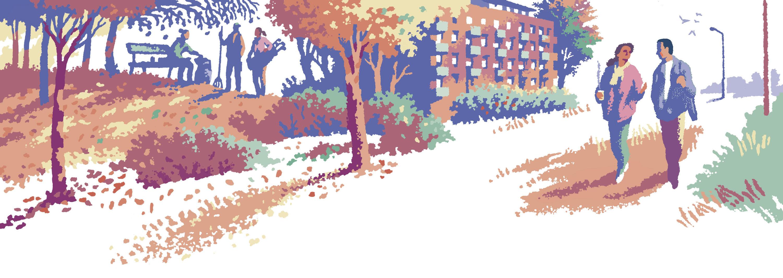 """Illustrasjon: """"Høst i Tyrili"""" av Trond Bredesen. En mann og en kvinne går tur gjennom byen. På en kolle i bakgrunnen snakker en som kommer fra golfbanen med to som raker løv."""