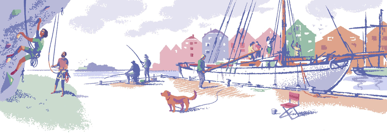"""Illustrasjon: """"Sommer i Tyrili"""" av Trond Bredesen. Ei seilskute klargjøres på brygga, en hund står med løst bånd og ser på to som klatrer i en fjellvegg."""