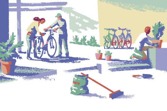 """Illustrasjon: """"Vår i Tyrili"""" av Trond Bredesen, Illustratørene. Vårdugnad i en bakgård, med sykkelreparasjon og planting."""