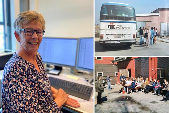 Inger Evensen (t.v.) går av med pensjon etter 33 års tjeneste i Tyrili. Til høyre to bilder fra Tyrili på 80-tallet: Tyrilibuss på tur og appell ute på Tyrilitunet.