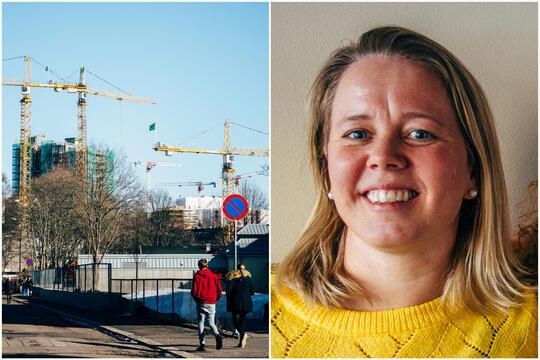 Teamleder for Tyrili IPS, Gyda Moan (t.v.) og illustrasjonsbilde av heisekraner på Ensjø i Oslo.